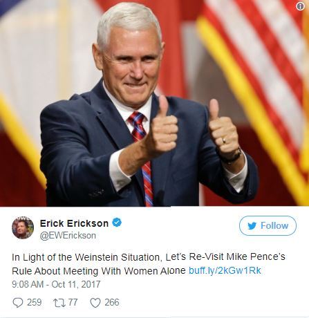 a tweet with a picture of Mike Pence giving thumbs up
