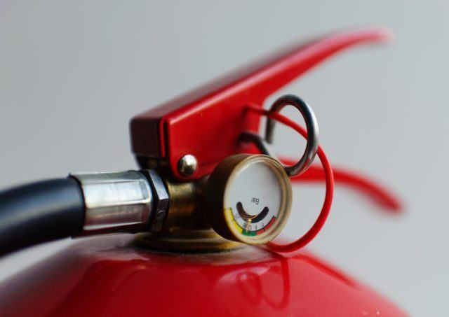 Fire extinguisher close-up.