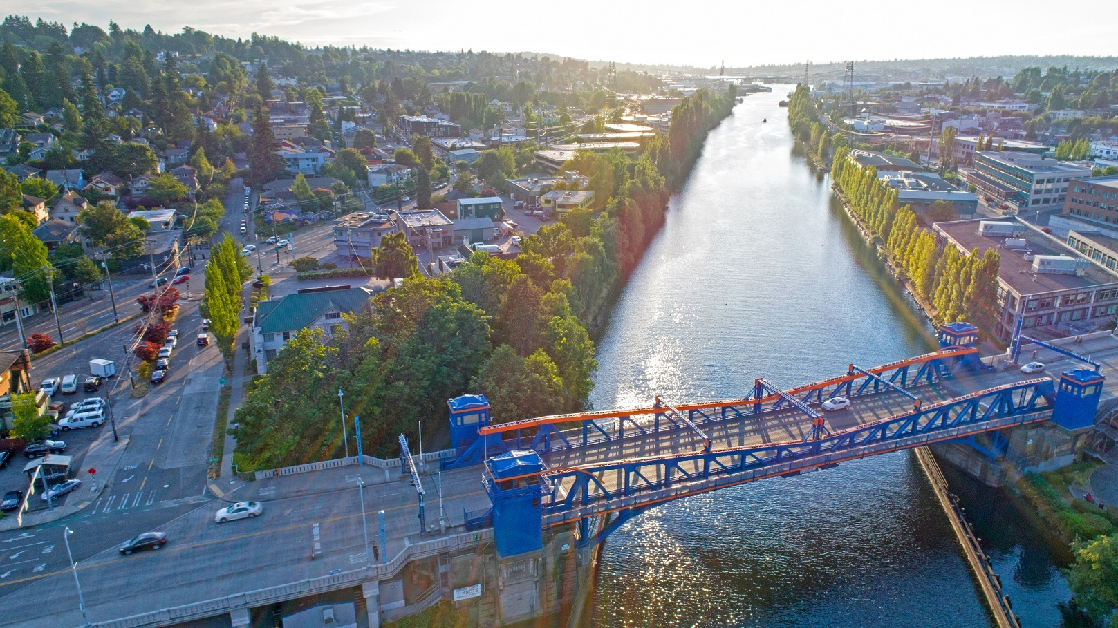 Fremont Bridge Seattle Lake Washington Ship Canal Magnolia Neighborhood Aerial