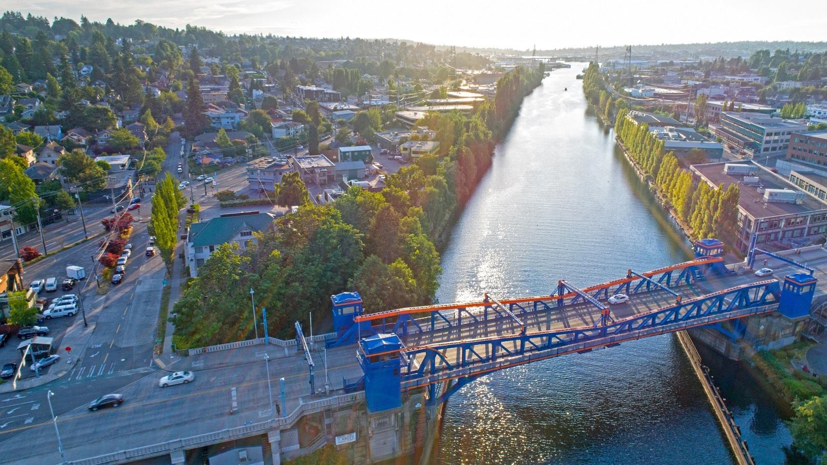 Fremont Bridge Seattle Lake Washington Ship Canal Magnolia Neighborhood Aerial