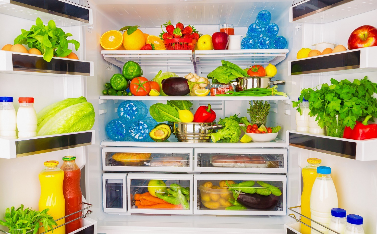 Full fridge with fruit and veggies