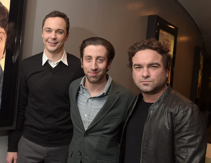 Actors Jim Parsons, Simon Helberg and Johnny Galecki attend the screening of 'We'll Never Have Paris' at the Harmony Gold Theatre on January 18, 2015 in Los Angeles, California.