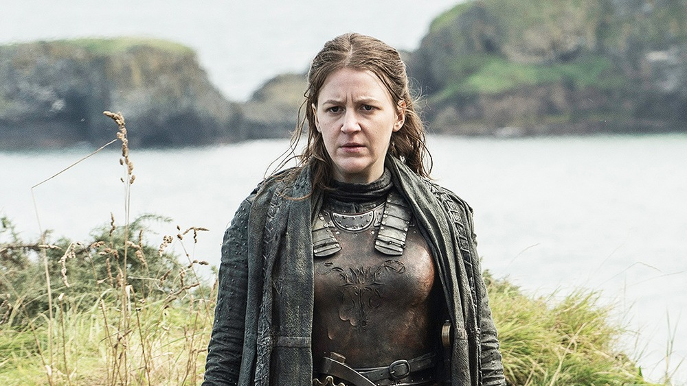 Gemma Whelan as Yara Greyjoy on Game of Thrones standing near water