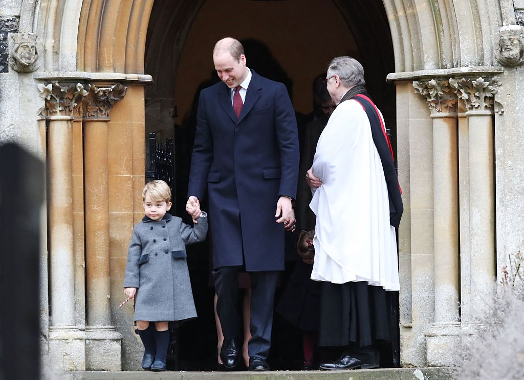 Prince William and George exit church