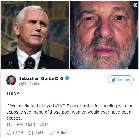 a tweet with pictures of Harvey Weinstein and Mike Pence
