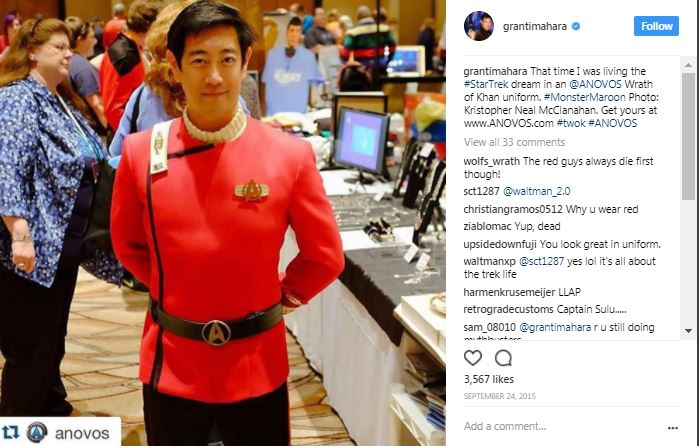 grant imahara in a star trek outfit