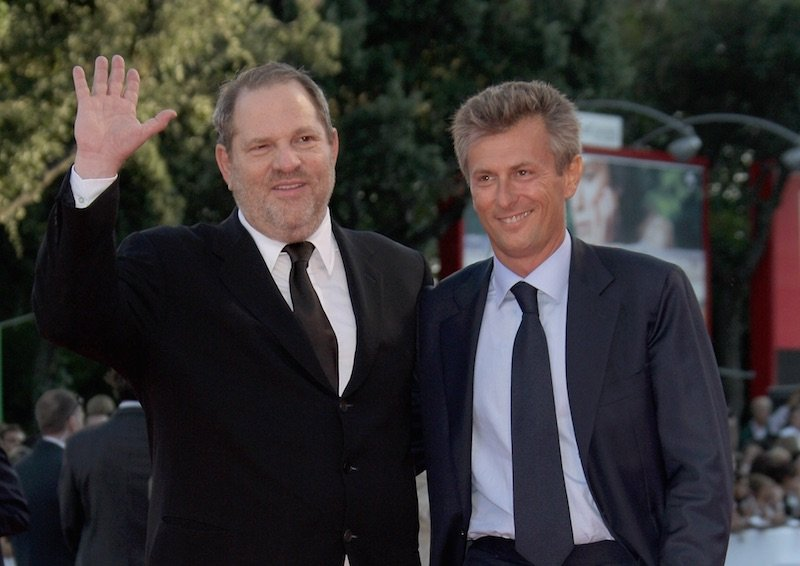 Producer Harvey Weinstein and Fabrizio Lombardo attend the Michael Clayton Premiere in Venice during day 3 of the 64th Venice Film Festival on August 31, 2007 in Venice, Italy.