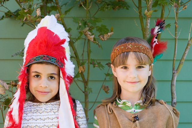 two little girls in Indian costumes