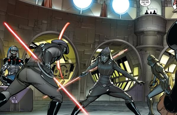 The Inquisitors battle as Palpatine and Vader watch over them