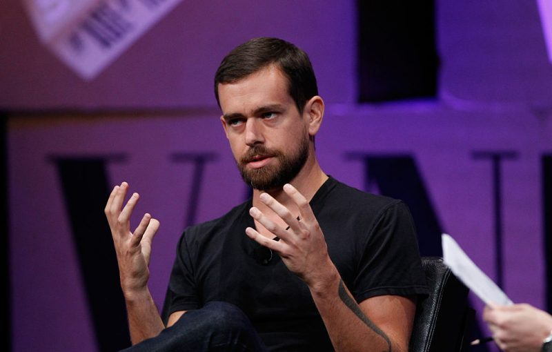 Jack Dorsey, co-founder and CEO of Twitter, speaks at a media event.