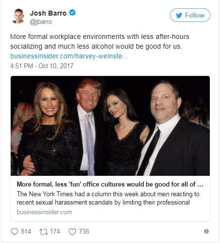 a tweet showing the Trumps with Weinstein