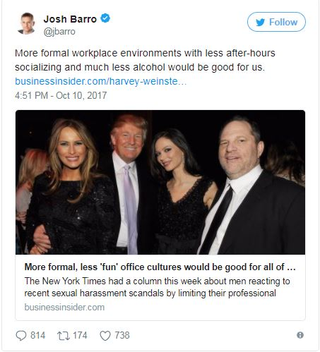 a tweet showing the Trumps with Weinstein