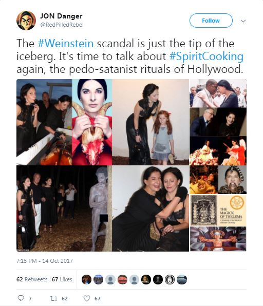 a tweet from jon danger about weinstein and spirit cooking