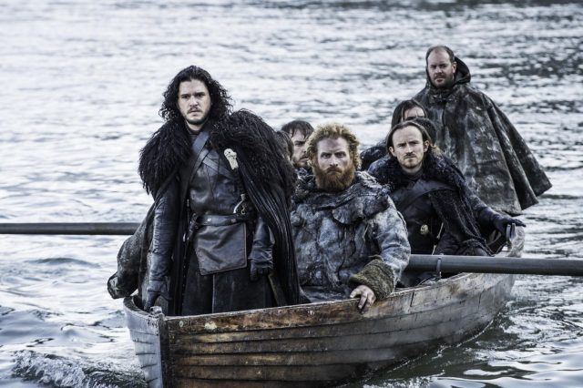 """Jon Snow on a boat with several other men in """"Hardhome""""."""