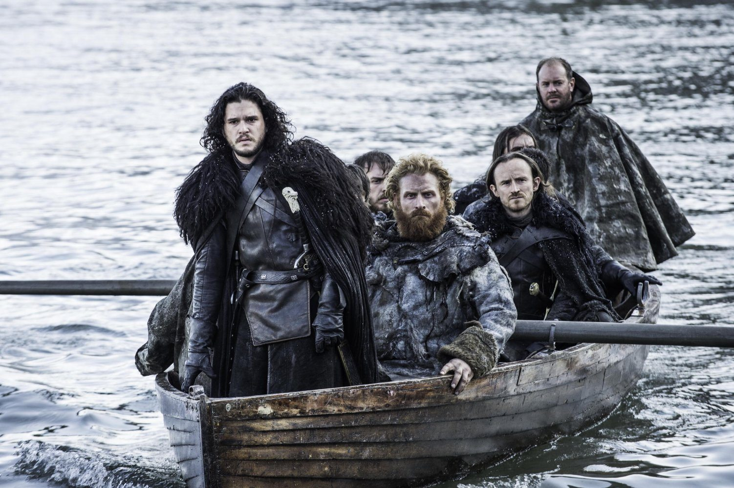 """Jon Snow on a boat with several other men in the Game of Thrones episode """"Hardhome"""""""