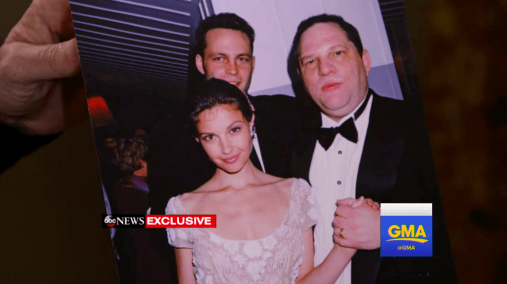 Ashley Judd and Harvey Weinstein at the 1997 Vanity Fair Oscars party. | ABC