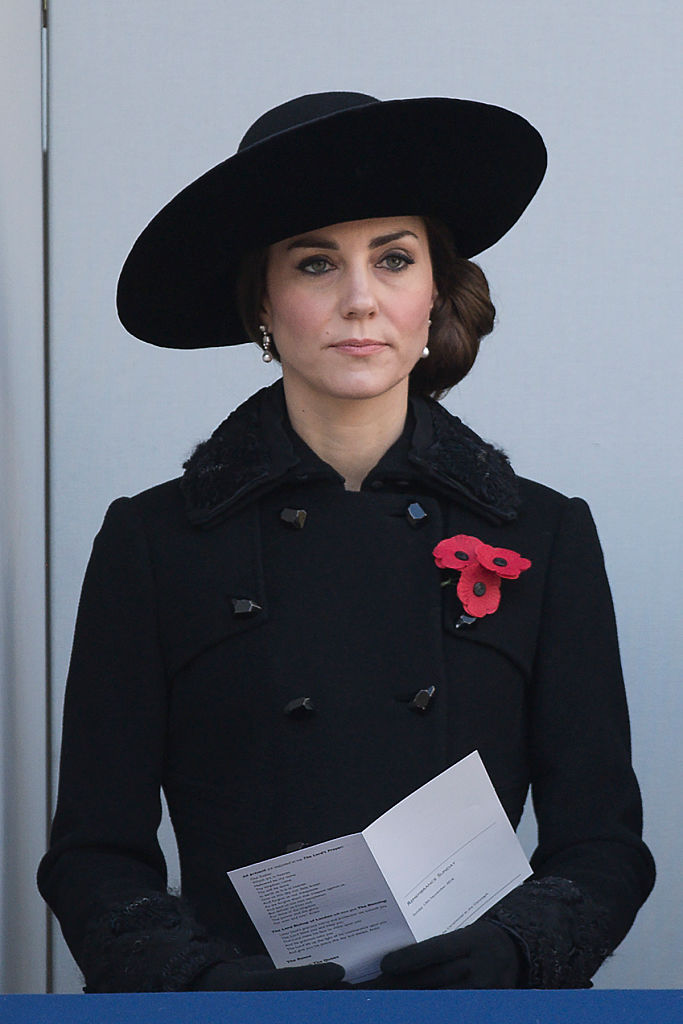 Kate Middleton in a black peacoat
