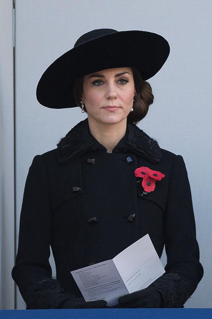 Kate Middleton in a black peacoat