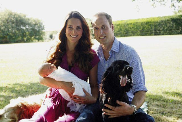 The royal family sits outside in a garden with their baby and dog.