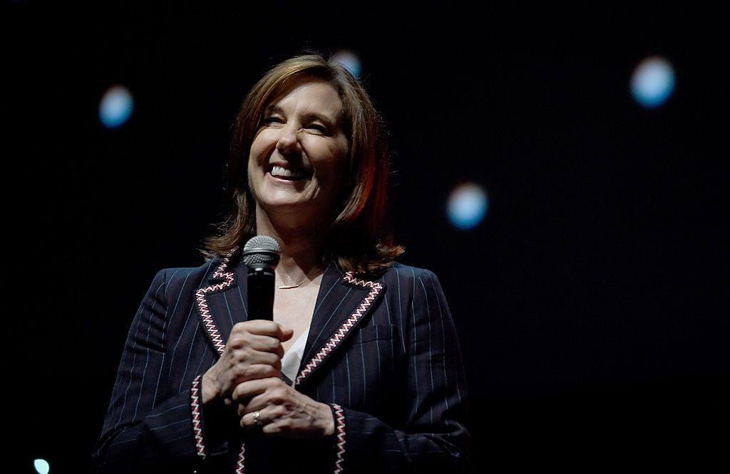 LONDON, ENGLAND - JULY 15: Kathleen Kennedy on stage during the Rogue One Panel at the Star Wars Celebration 2016 at ExCel on July 15, 2016 in London, England.
