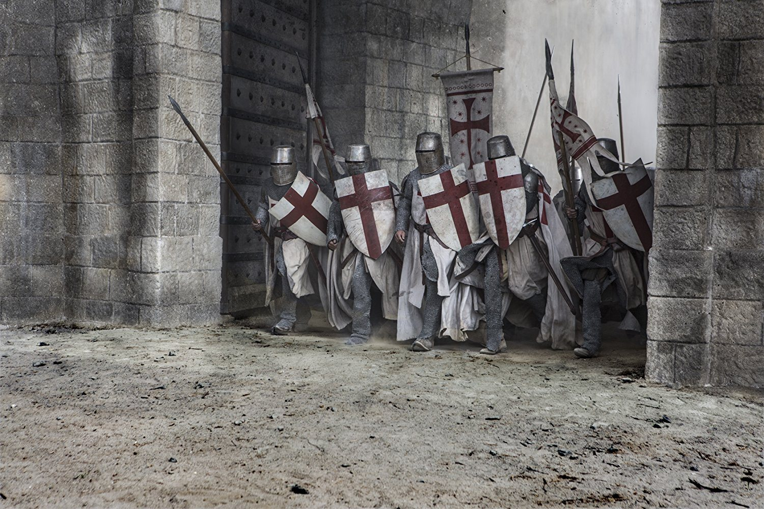 Knights armed with shields in Knightfall