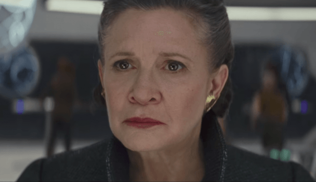 Carrie Fisher as Leia in Star Wars: The Last Jedi.
