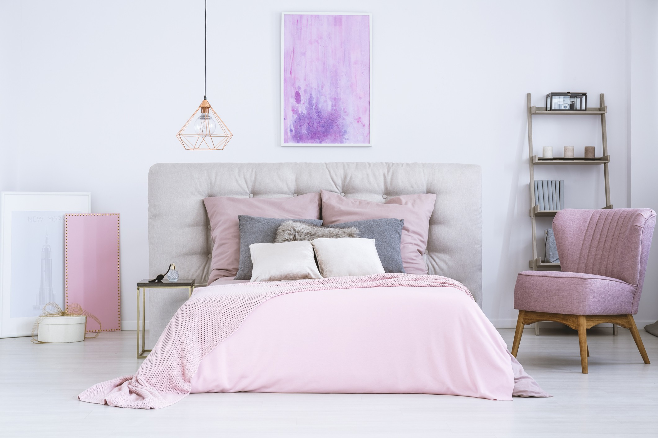 Bedroom with pink accents