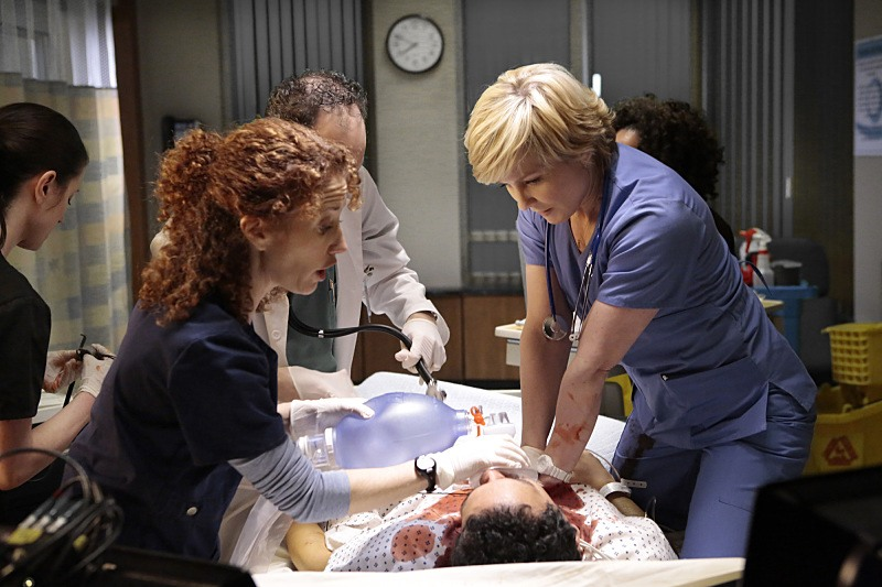 Amy Carlson as Linda Reagan on Blue Bloods working as a nurse