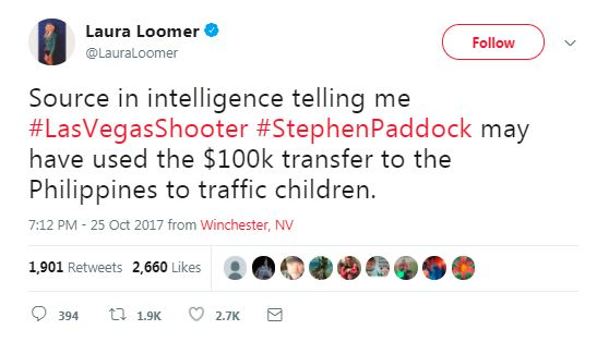 a tweet about stephen paddock and child trafficking