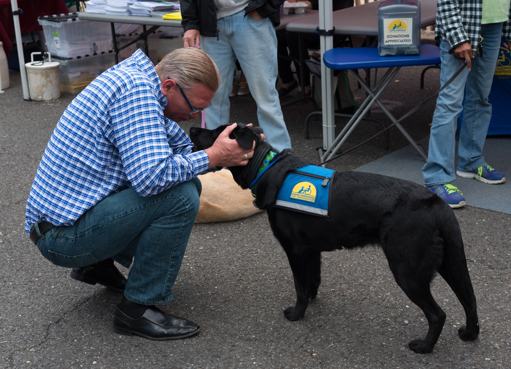 Man with service dog