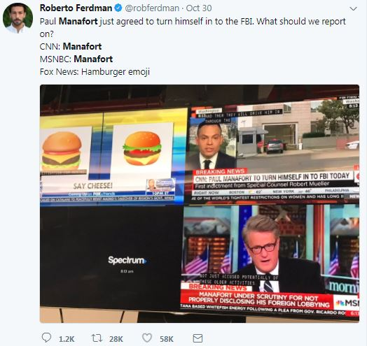 a screenshot of Fox News, NBC, and CNBC in a tweet