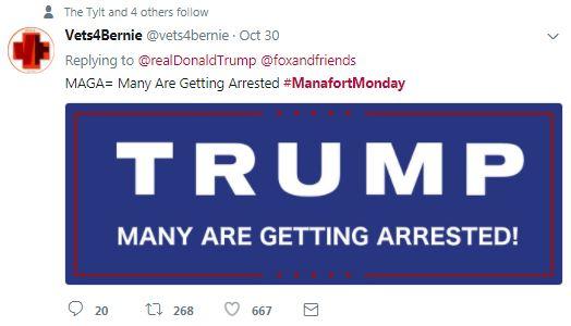 a tweet with make america great again edited