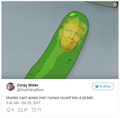 trump as a pickle in a tweet