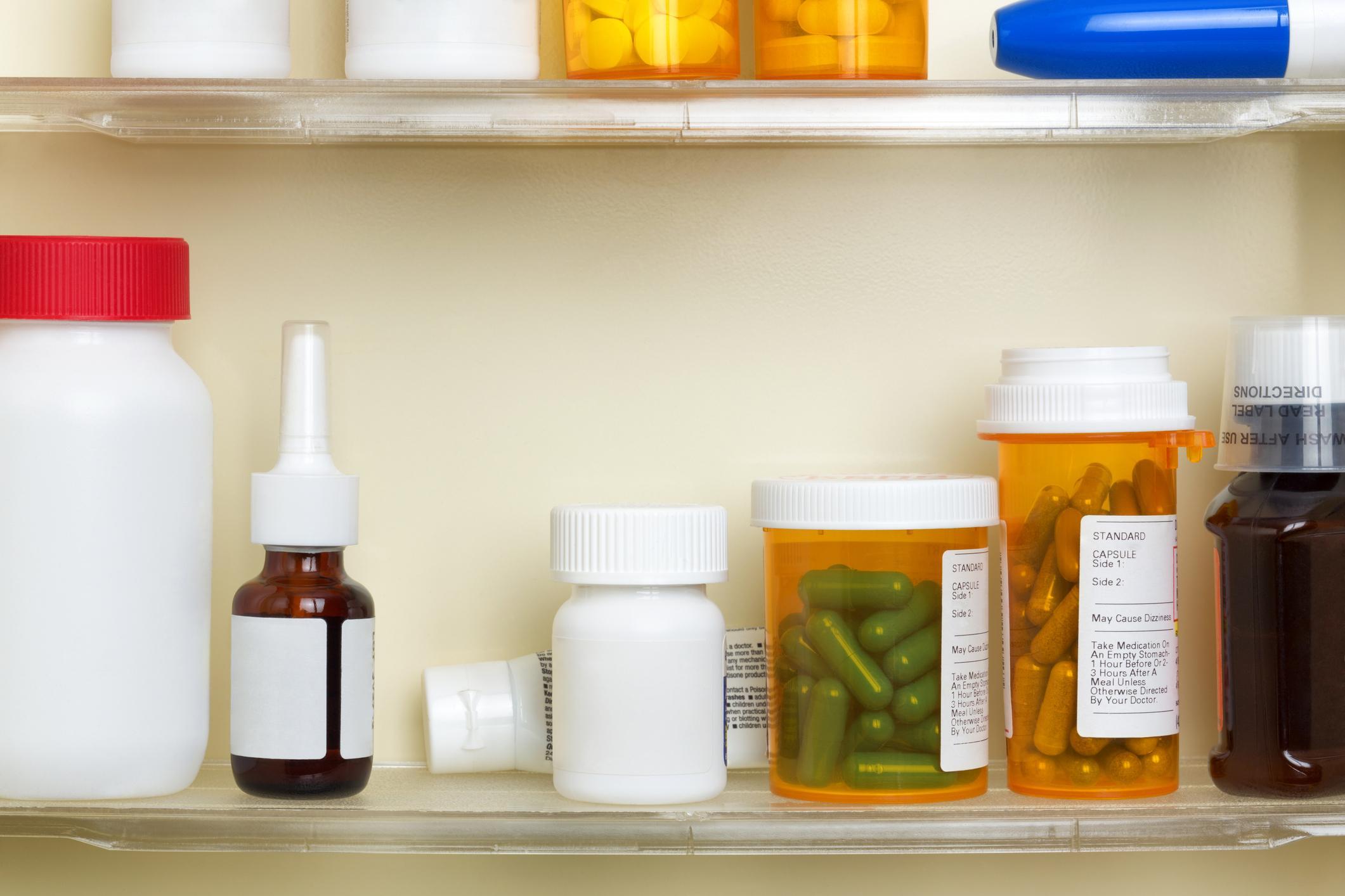 Medications on shelves of medicine cabinet