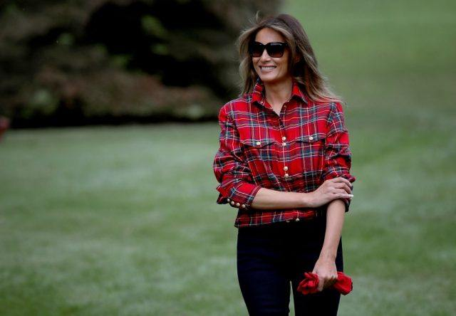 U.S. first lady Melania Trump arrives at an event with children from the Boys and Girls Club of Washington