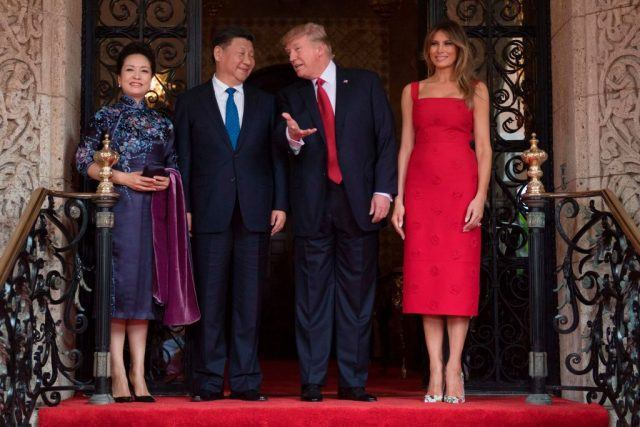 Trump meeting with the Chinese President with Melania off to the side