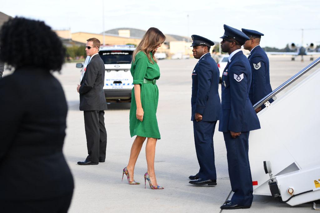 Melania Trump boards a plane
