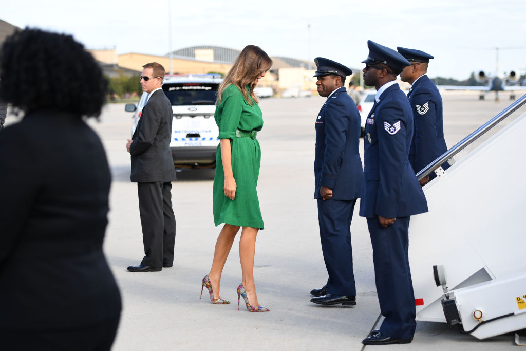 Melania Trump boards a plane