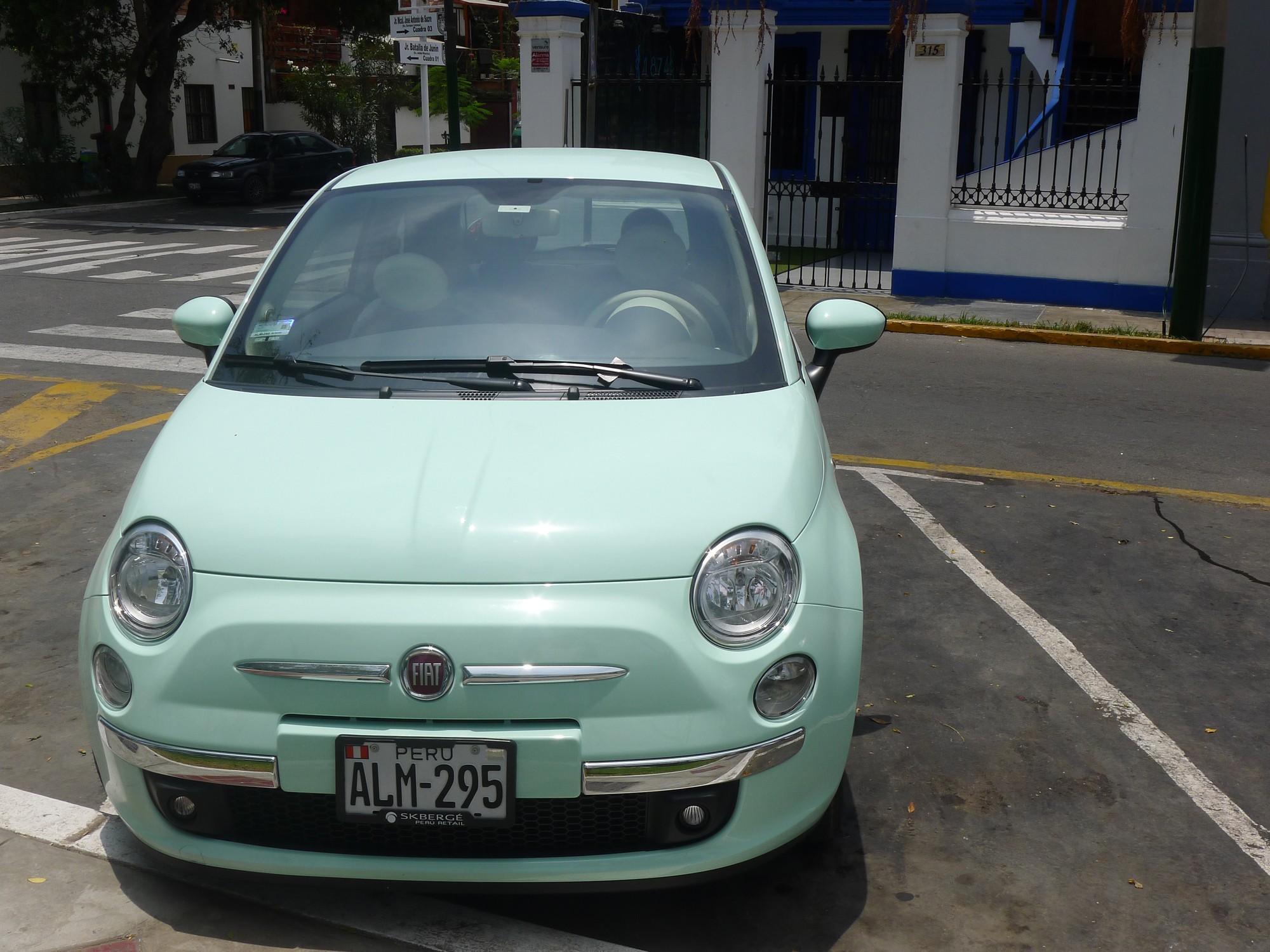 Mint green car