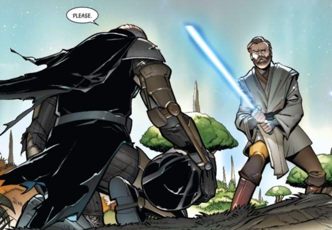 Obi-wan holds a blue lightsaber as Vader kneels in front of him