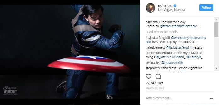 osric chau as captain america on instagram