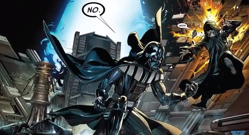 Darth Vader is distress in front of an explosion.