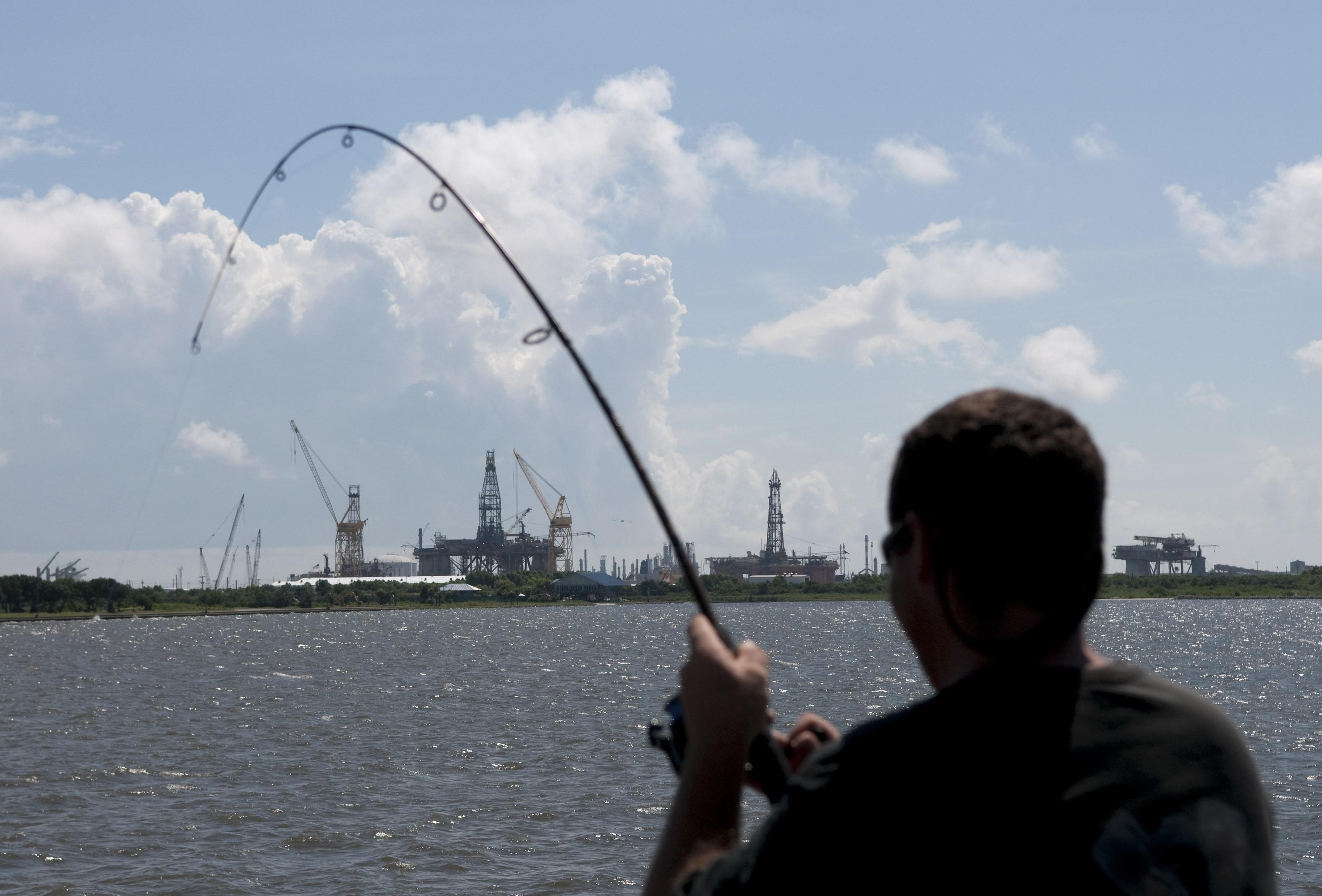 man fishing in Mississippi