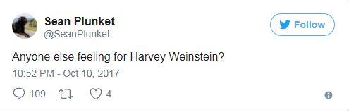 Plunket tweets about Weinstein
