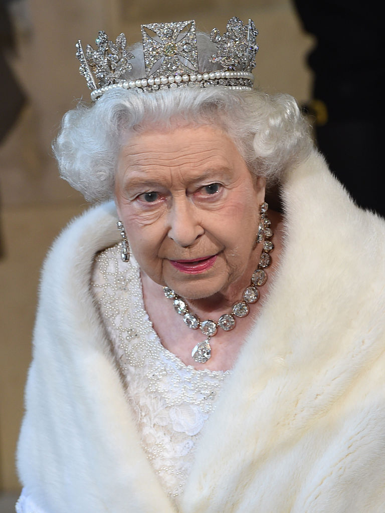 Queen Elizabeth in fur and crown