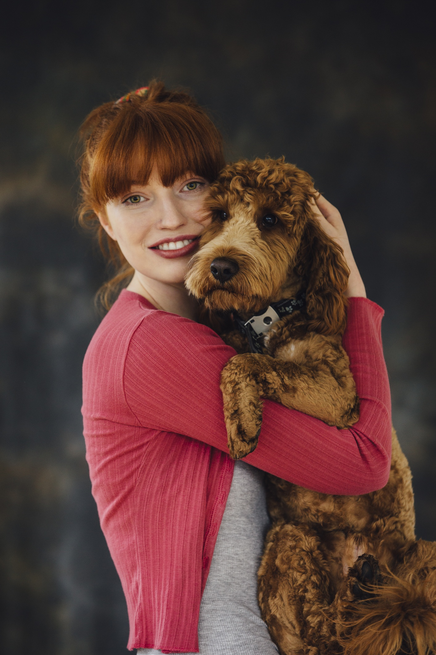 Redhead owner and dog