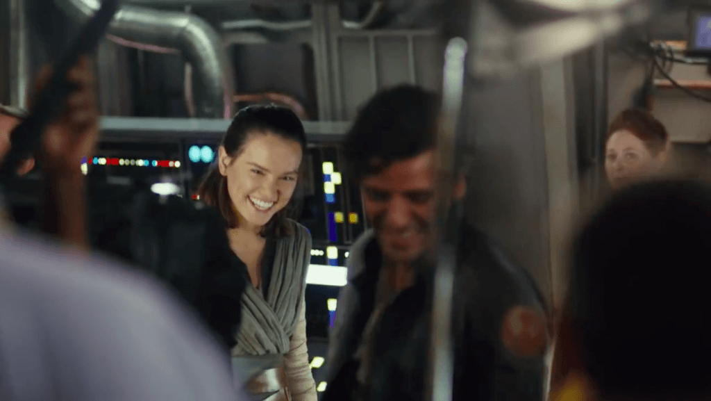 Rey and Poe in Star Wars: The Last Jedi