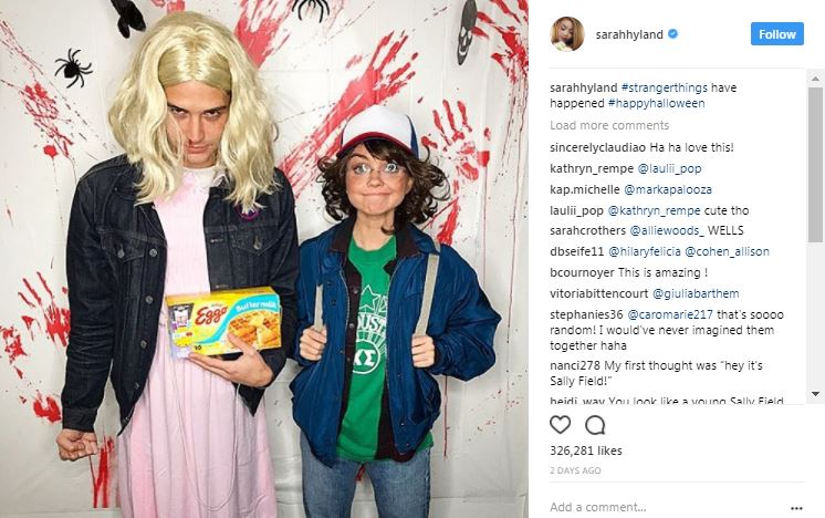 sarah hyland as stranger things characters on instagram