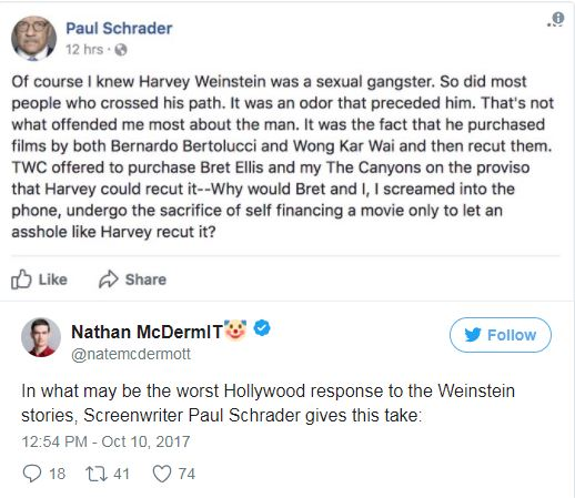 A tweet about Weinstein by paul schrader