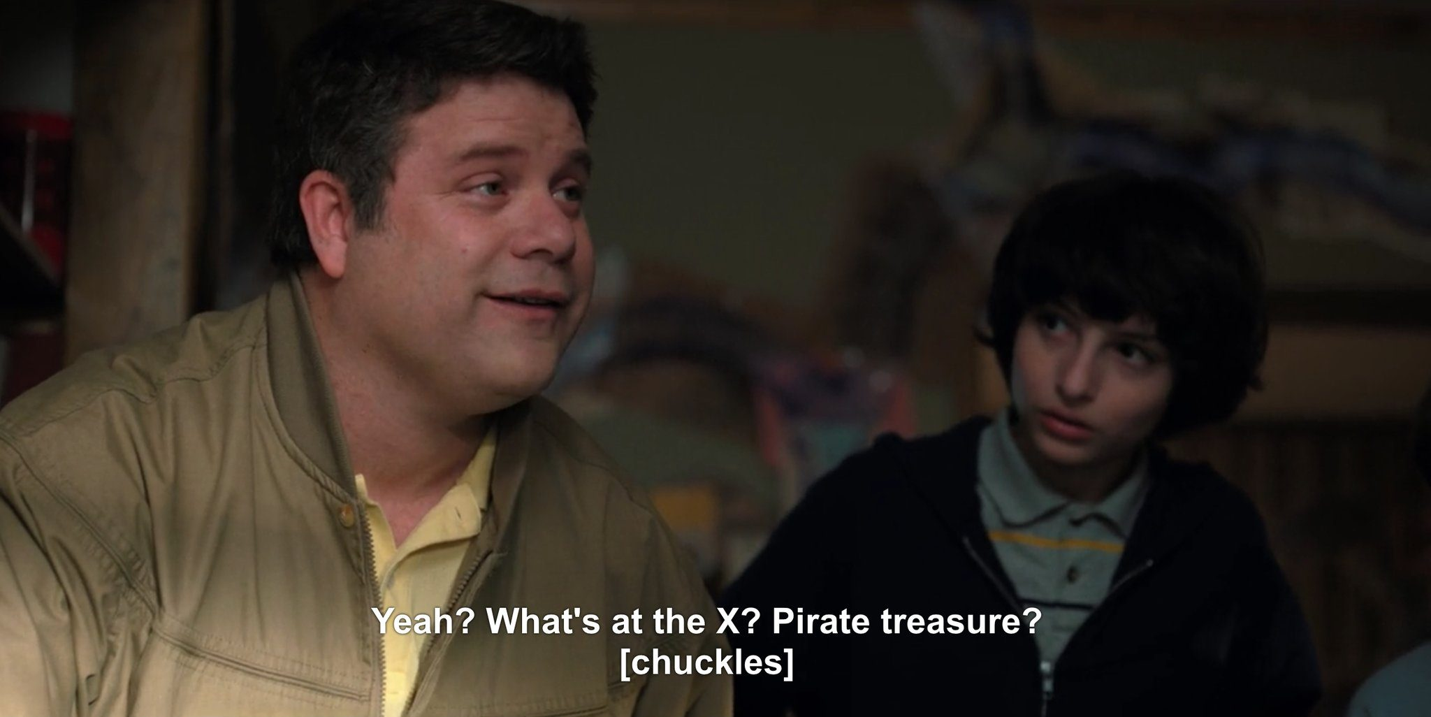 Sean Astin making a Goonies reference in Stranger Things 2